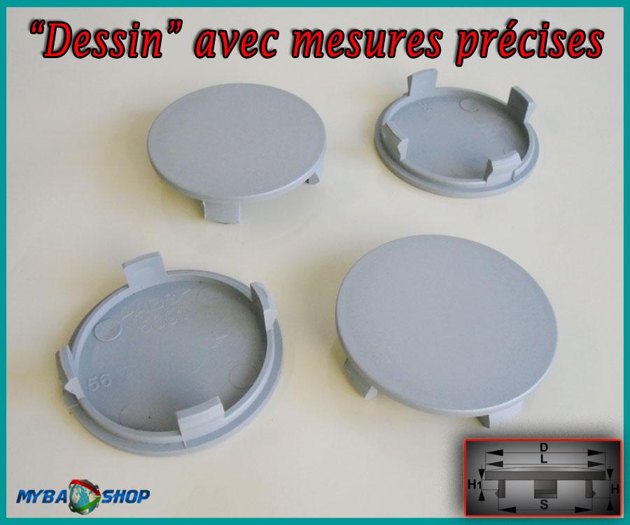 4x centre de roue plat cache moyeu jante 56mm caches moyeux jantes neuf. Black Bedroom Furniture Sets. Home Design Ideas